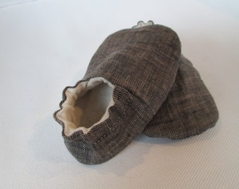 Charcoal Grey Linen - Hemp/Cotton Jersey Knit Lined - Baby Booties, Shoes, Slippers - Eco Friendly - Organic