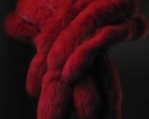 Ultimate Luxury Gift Or Bridal Wedding Black Tie Accessories/Breathtaking Huge Hollywood Red Fox Fur Stole/Rhinestone/Vintage Wrap Shrug Boa