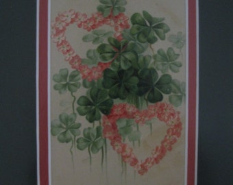 1913 Valentine Professionally Framed and Double Matted - To My Sweetheart - Pink Hearts with Green Shamrocks