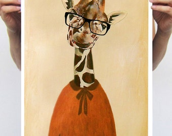 Clever Giraffe : Art Print Poster A3 Illustration Giclee Print Wall art Wall Hanging Wall Decor Animal Painting Digital Art