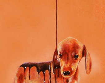 Animal painting portrait painting  Giclee Print Acrylic Painting Illustration Print wall art wall decor Wall Hanging: Daschund with Nutella
