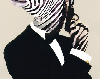 James Bond zebra Animal painting portrait painting Giclee Print Acrylic Painting Illustration Print wall art wall decor Wall Hanging spectre