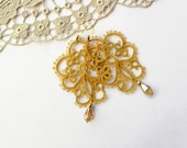 yellow fairy earrings, mustard, gold, handmade tatting lace, made to order