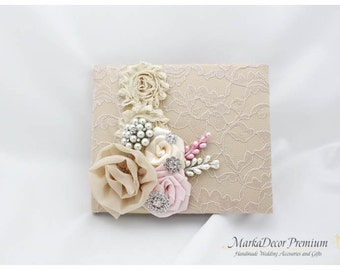 READY TO SHIP Wedding Lace Guest Book Custom Bridal Flower Brooch Guest Books in Champagne and Light Pink