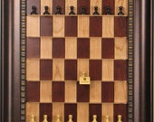"""2.5"""" Jaques Ebonized chess pieces on Red Cherry Straight Up Chess Board with Checkered Bronze frame"""