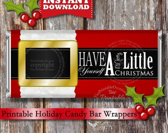 INSTANT DOWNLOAD PRINTABLE Christmas Santa Candy Bar Wrapper, Santa Coat Candy Wrapper by The Printable Occasion