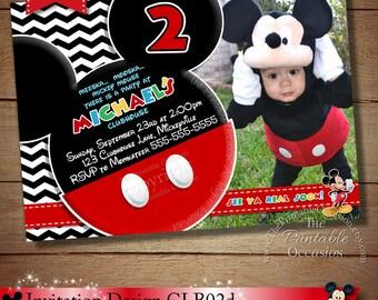 HUGE SELECTION Black Chevron Mickey Mouse Invitation, Mickey Birthday Invitation, Mickey Mouse Clubhouse, Photo Invitation, Mickey Printable