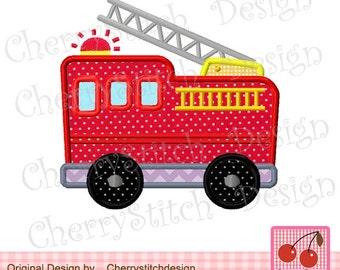 "Fire Truck Transportation Machine Embroidery Applique Design -approximate 4x4 5x5 6x6"""