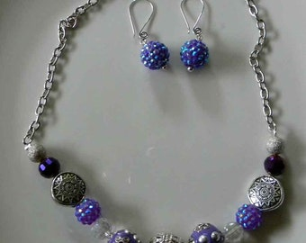 Big Beaded Necklace and Earrings