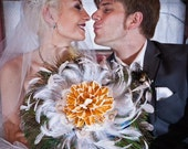 Wedding Feather Bouquet - Peacock Feathered Bouquet, Dried Flower, Nature Inspired, Bridal Parties, Large Bouquet
