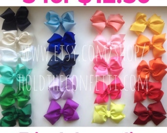 Set of FIVE 5 inch boutique style hair bow clips Ready To Ship