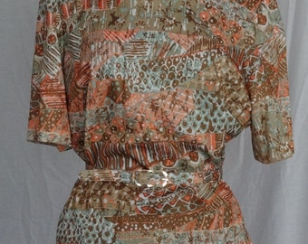 1960s 70s Blouse / Tan Coral Mint Abstract Print Tunic w Belt / Nelly Don / NOS