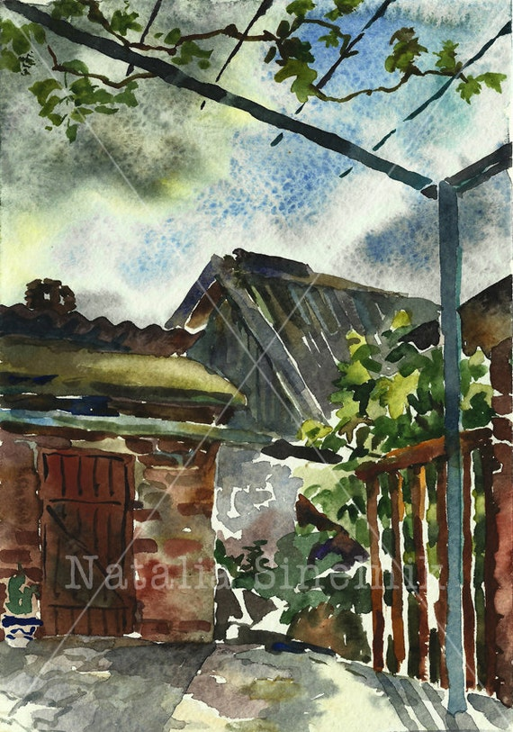 Back yard of country house rustic digital download from original watercolor summer landscape with grape pavillion