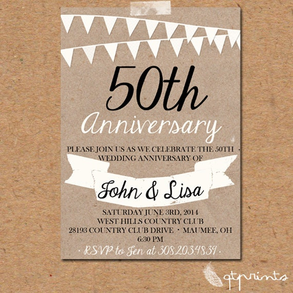 Items Similar To Rustic 50th Anniversary Invitation