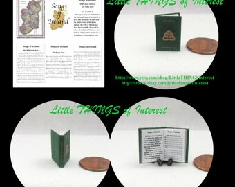 SONGS OF IRELAND Dollhouse Miniature Book 1:12 Scale Readable Book