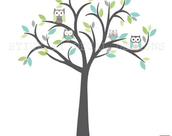 Owl tree wall decal, Owl tree wall sticker, nursery wall decal, boy owl nursery, owl wall decal, Modern Boy Design Grey Tree