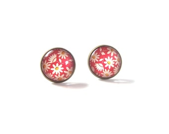 18mm Pink White Daisy Flower Stud Earrings, Pink White Daisy Flower Earrings, Pink White Flower Earrings, White Daisy Flower Post Earrings