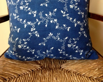 Blue and White European grain sack linen Pillow Cover hand dyed and blocked Clematis pattern