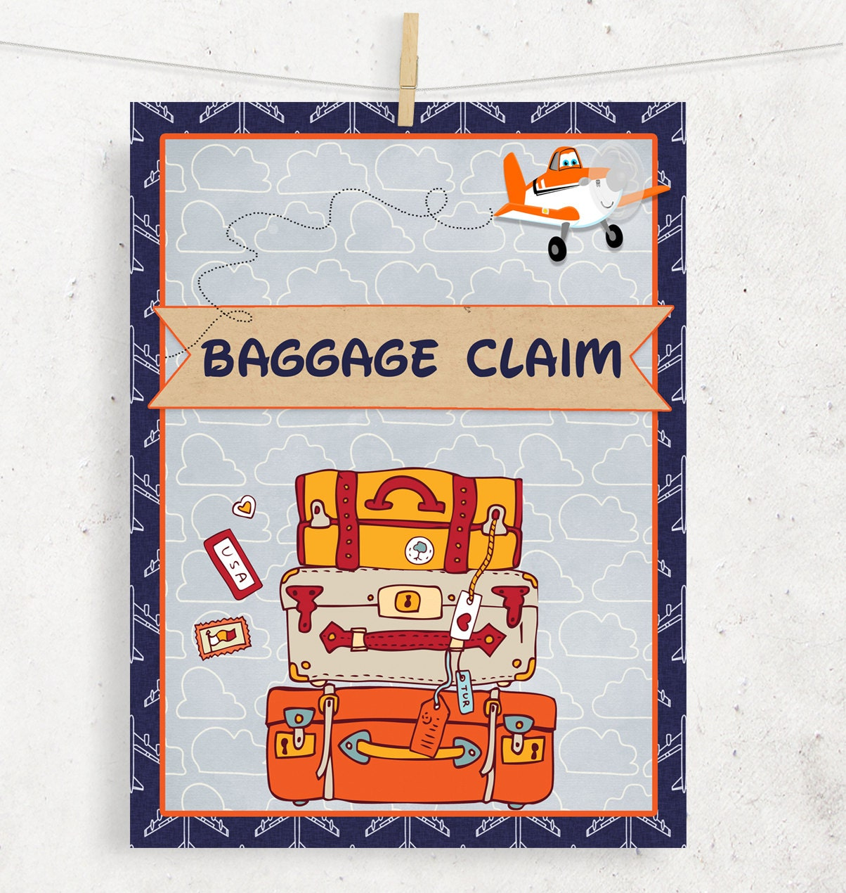 Planes Baggage Claim Sign For Birthday Gift Area Instant