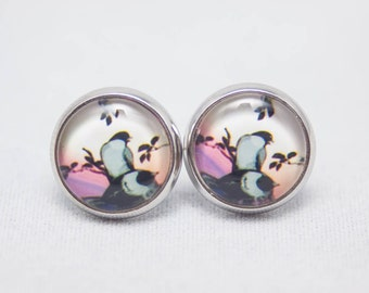 Glass Cabochon Earrings - Black Birds On A Sunset Background - Silver Setting - One Pair