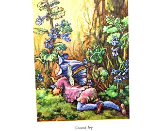 Ground Ivy Flower Fairy, Flower Fairies Picture, Cicely Mary Barker Print, Fairy picture