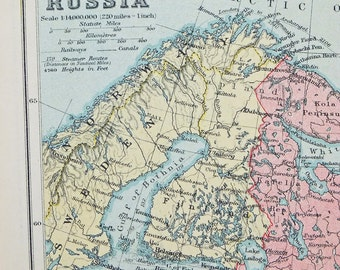 Vintage Russia Map, 1928 Map of Russia, old map, historical Russian map, inter-war map