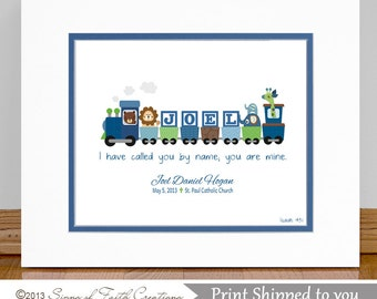"Boys Personalized Train with Bible verse.  Baptism Gift - Christening Gift - Baby Gift  - Wall Art for Nursery.  8x10"" Print"