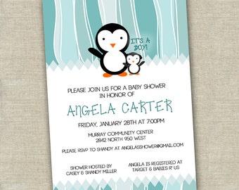 printable penguin baby shower invitation digital file gender neutral
