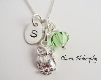 Owl Necklace in 925 Sterling Silver - Personalized Initial Charm - Swarovski Birthstone Bead - Owl Jewelry - Bird Necklace