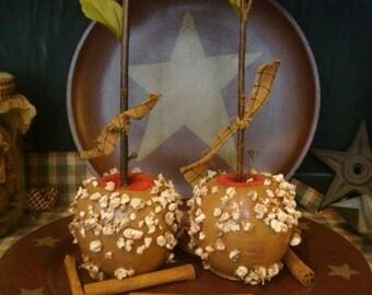 Primitive Rustic Faux Caramel Apples Set of 2