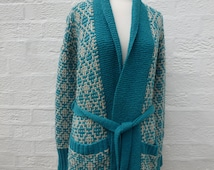 Cardigan wool outerwear knitted cardigan 80s vtg clothes wool jacket ladies chunky cardigan handmade jacket turquoise clothes vintage knit
