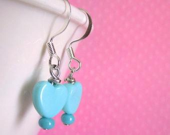 Kawaii Pastel Teal Heart Earrings with Tiny Pink Beads, Lolita Earrings Cute Fairy Kei Jewelry, Kawaii Jewelry Girl Birthday 8mm