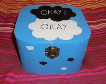 "The Fault in Our Stars : ""Okay, Okay"" -- Hand-painted Wooden Box"