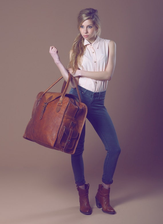 vintage style brown leather holdall duffel weekend bag extra