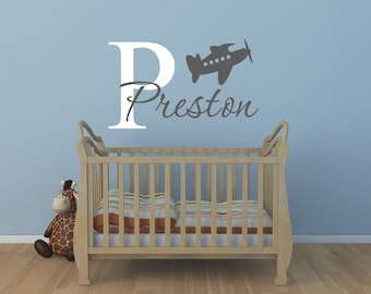 Airplane Wall Decal - Personalized Airplane Decal Nursery Decor - Airplane Decal Childs Room Decor Vinyl Wall Decal