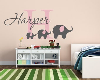 Elephant  Butterflies Nursery Name Wall Decal For Baby Girl - Nursery wall decals elephant