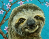 Sloth and Cherry Blossoms Portrait fine art giclee print