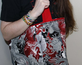 Large Reversible Cotton Dragon Printed Tote Bag