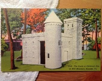 Vintage Postcard, Castle at Children's Zoo, Mill Mountain, Roanoke, Virginia - 1940s Linen Paper Ephemera