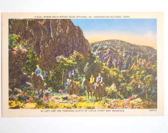 Vintage Postcard, Horseback Riders, Skyland, Virginia - 1940s Paper Ephemera