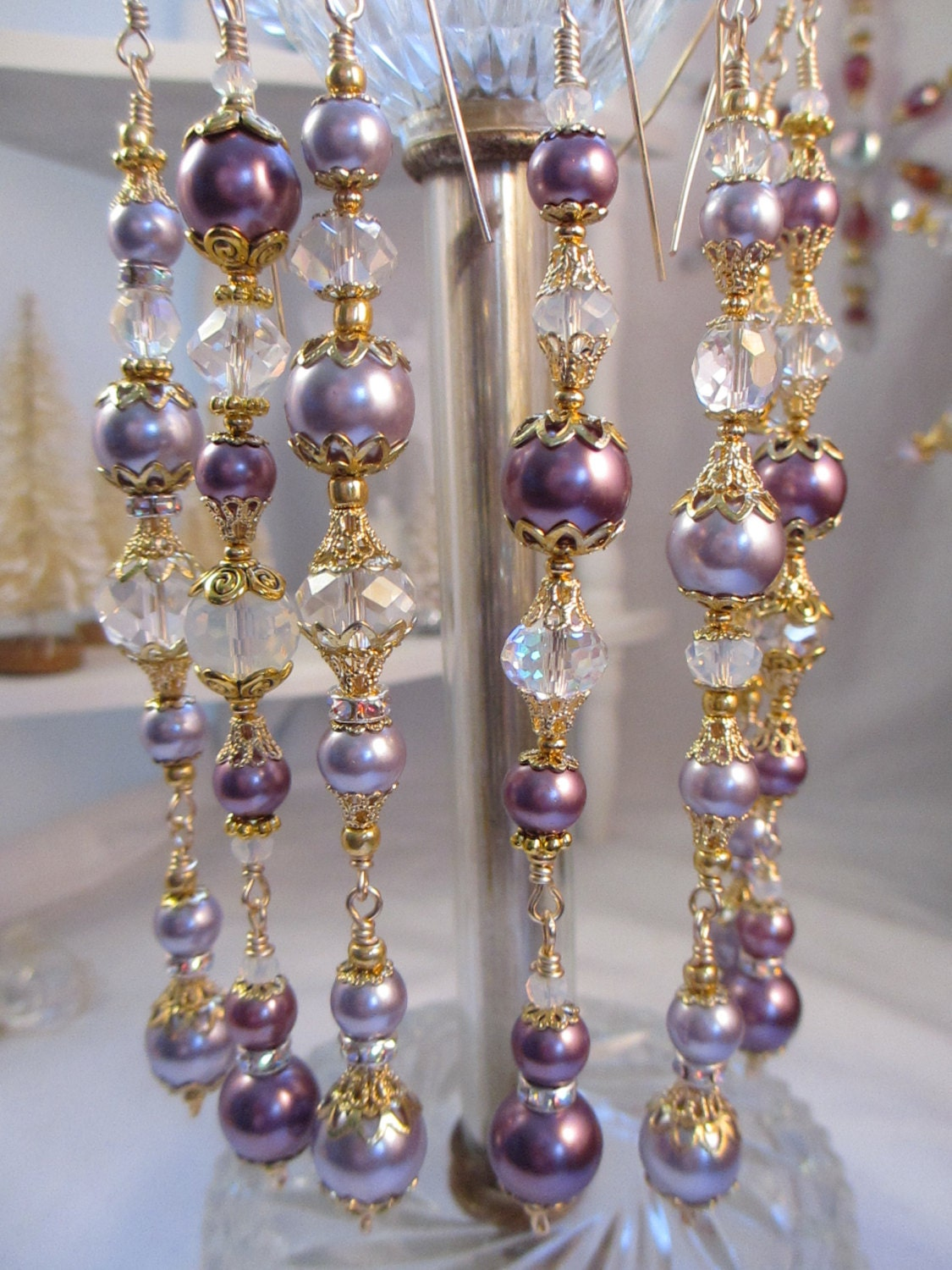 Purple Pearl Christmas Ornaments Bead Dangle Ornament Set