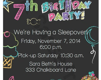 Girl's Graffiti Chalkboard Birthday Invitation