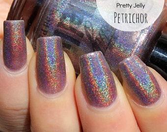 Holographic Nail Polish, Holo Nail Lacquer, Indie Nail Polish, Neutral Nail Color, Taupe Nail Varnish, Vegan, Shimmer, Sparkle, PETRICHOR