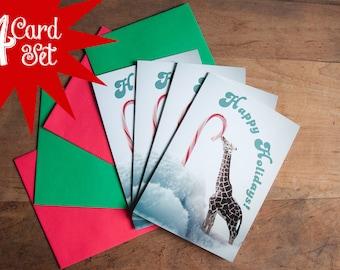Christmas Card Set of 4- Giraffe Licking Candy Cane