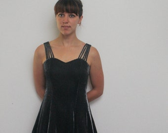 Vintage Strappy Dress // Shimmery Gray Dress // 90s Dress