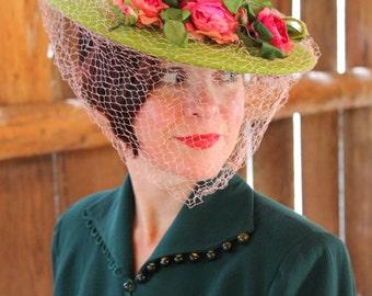 Custom Order: Spectacular Vintage 1940s-Style Wide Brim Green Felt Tilt Hat with Vintage Flowers & Veil