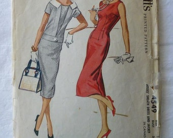 Vintage Dress Pattern McCall's 4549 Size 12 Bust 32 Misses' Sheath Dress and Jacket From 1958 Fitted Dress Wiggle Dress