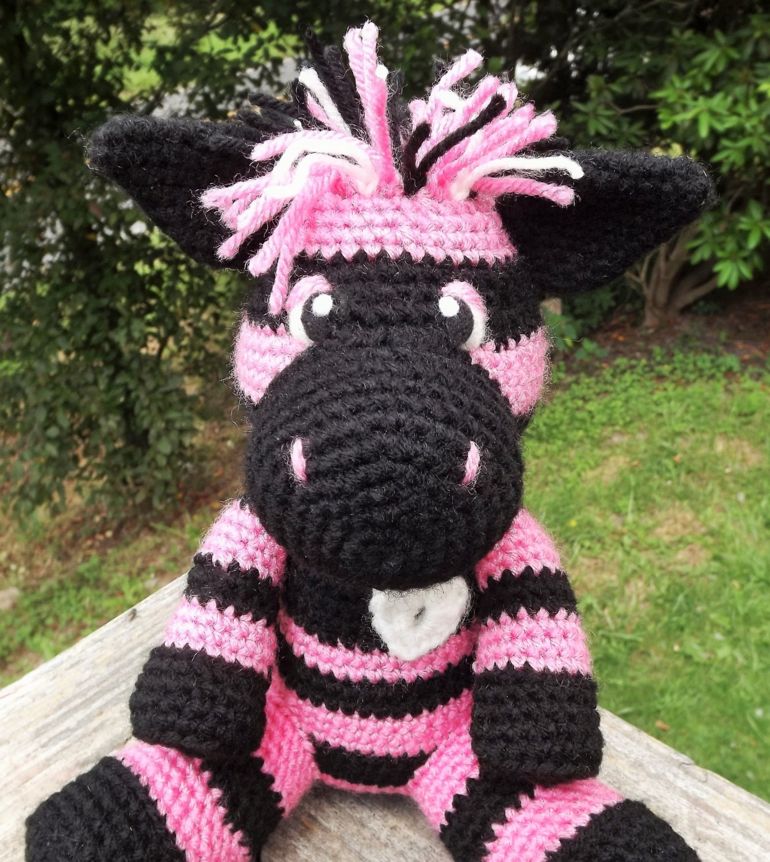 Crochet Amigurumi Zebra Pattern : Colorful Zebra Amigurumi Crochet Pattern With Heart Applique.