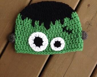 Frankenstein Hat, Infant Frankenstein Hat, Crochet Halloween Hat, Kids Hat, Baby Boy Hat, Kids Frankenstein Hat, Baby Photo Prop