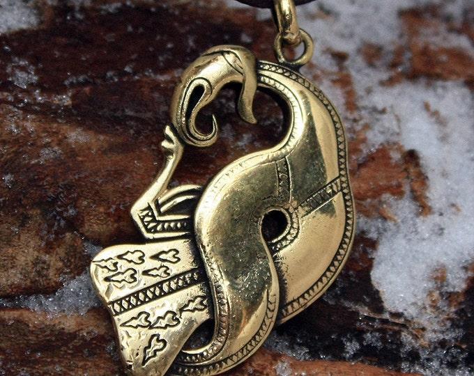 Bronze Norse Raven Crow Scandinavian Brooch Nordic Amulet Pendant Necklace